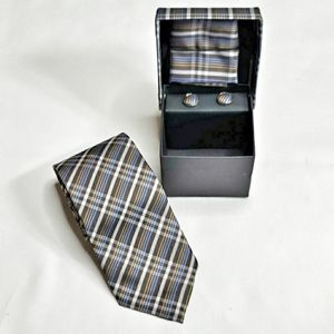 NEW Tie Cufflinks & Pocket Square Boxed Set NWOT